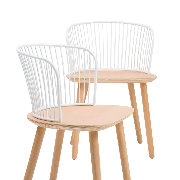 lot de 2 chaises en bois dossier en metal blanc