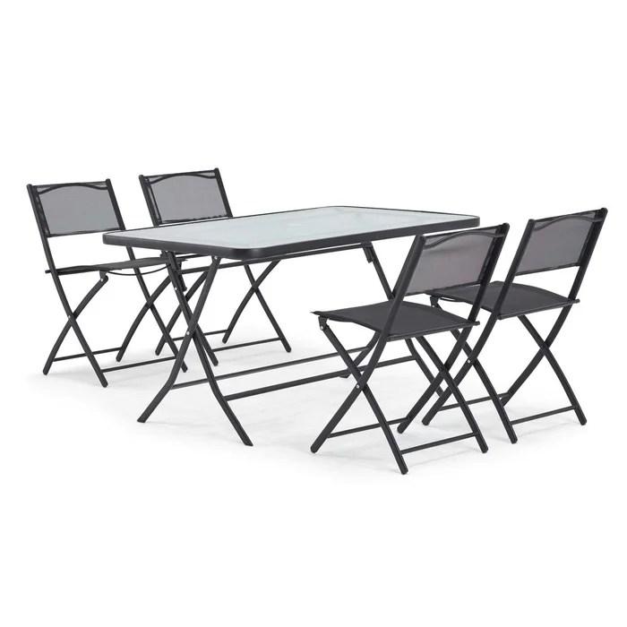 table de jardin et 4 chaises pliantes en acier et verre calvi