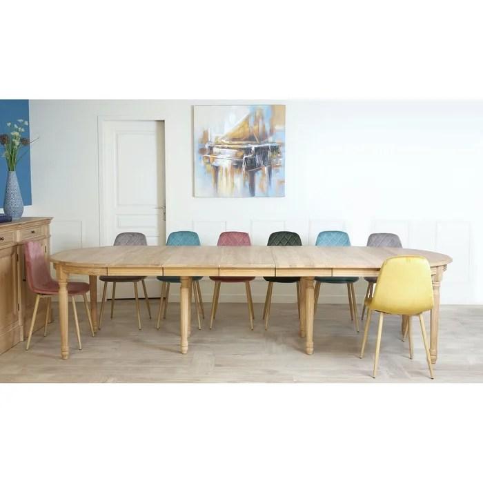 grande table a manger extensible en chene massif naturel style classique 120 320cm medicis