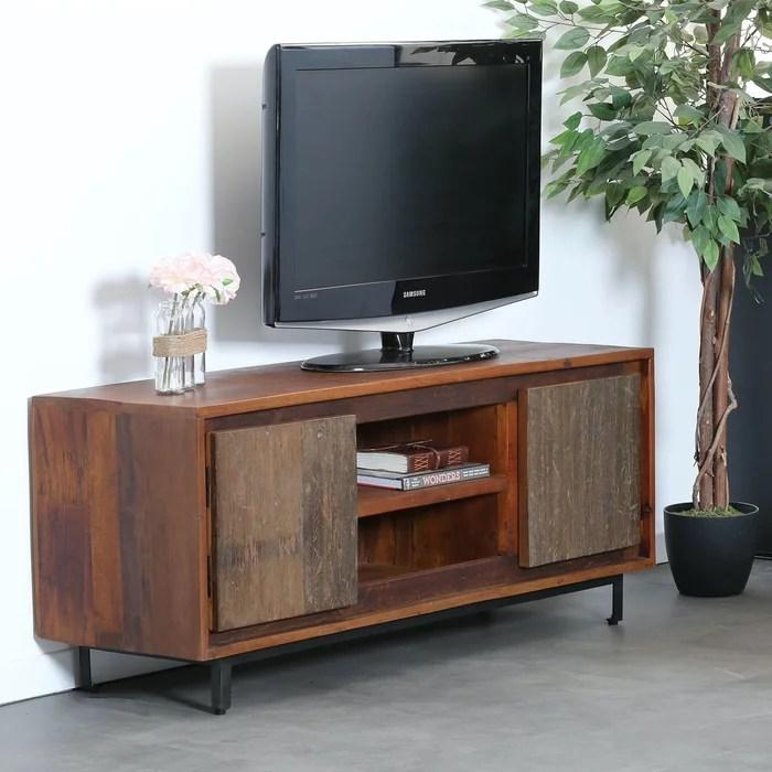 meuble tv 130cm bois naturel recycle style campagne facade bois brut koursk