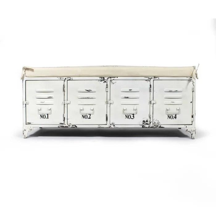banc industriel metal blanc coussin beige 4 portes rangement