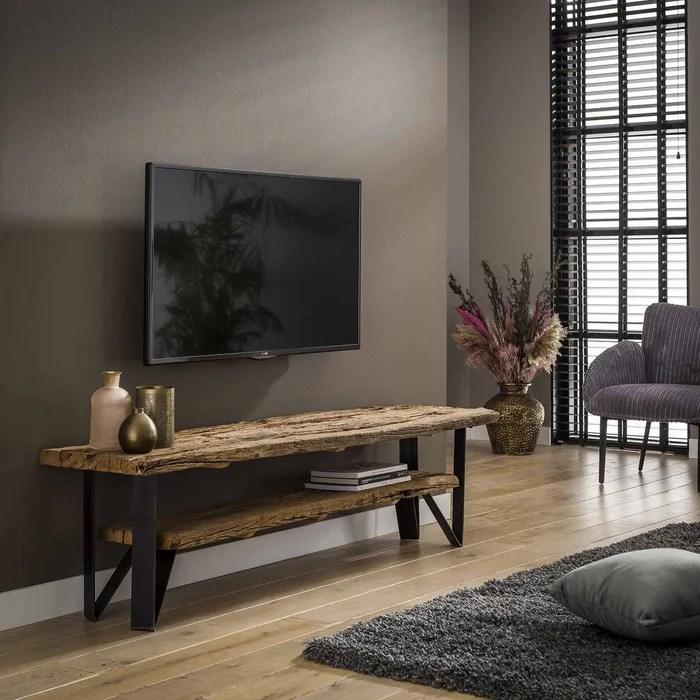 meuble tv 160cm bois brut recycle et metal 2 niveaux style industriel omsk