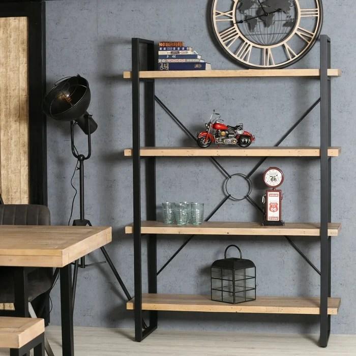 etagere en bois recycle certifie 4 niveaux structure metal style industriel 125 cm auckland