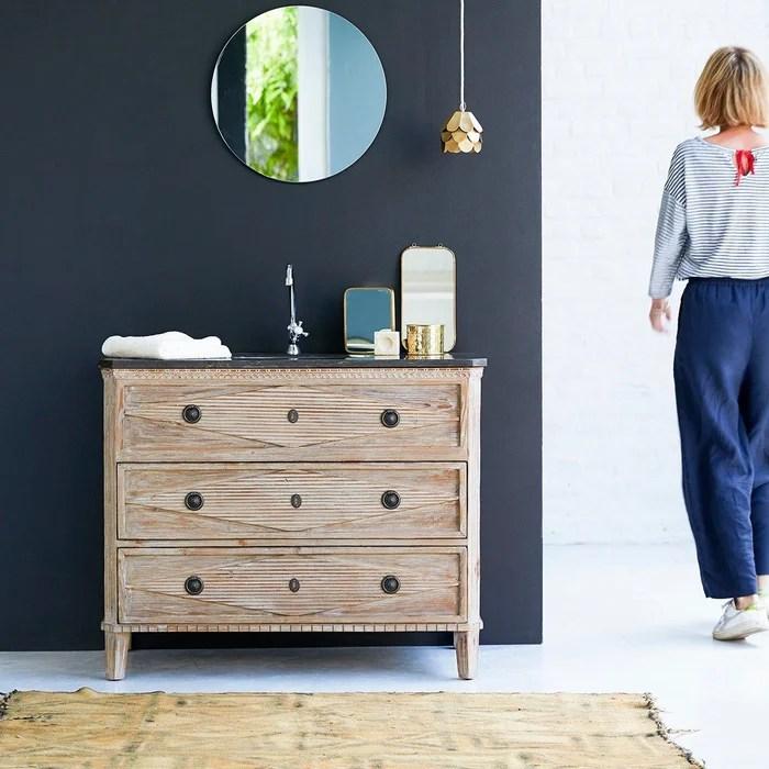 meuble salle de bain en pin massif et pierre 100 emily