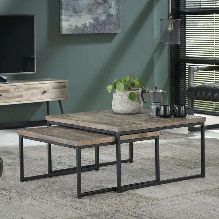 table basse gigogne carree industrielle en bois recycle de teck et metal 75cm 2 pieces java