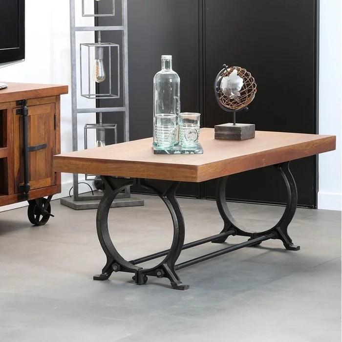 table basse rectangle industrielle plateau bois recycle et pied metal vintage 110x60cm leeds