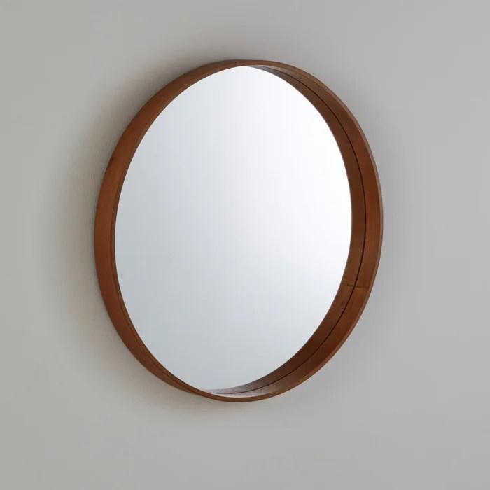 Alaria Round Mirror Walnut La Redoute Interieurs La