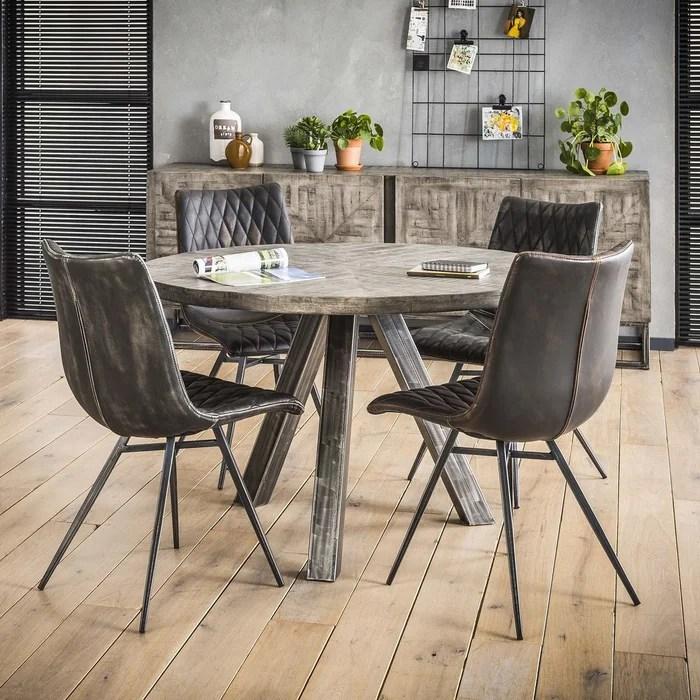 table a manger ronde contemporaine bois manguier massif gris pied metal 120cm lucknow