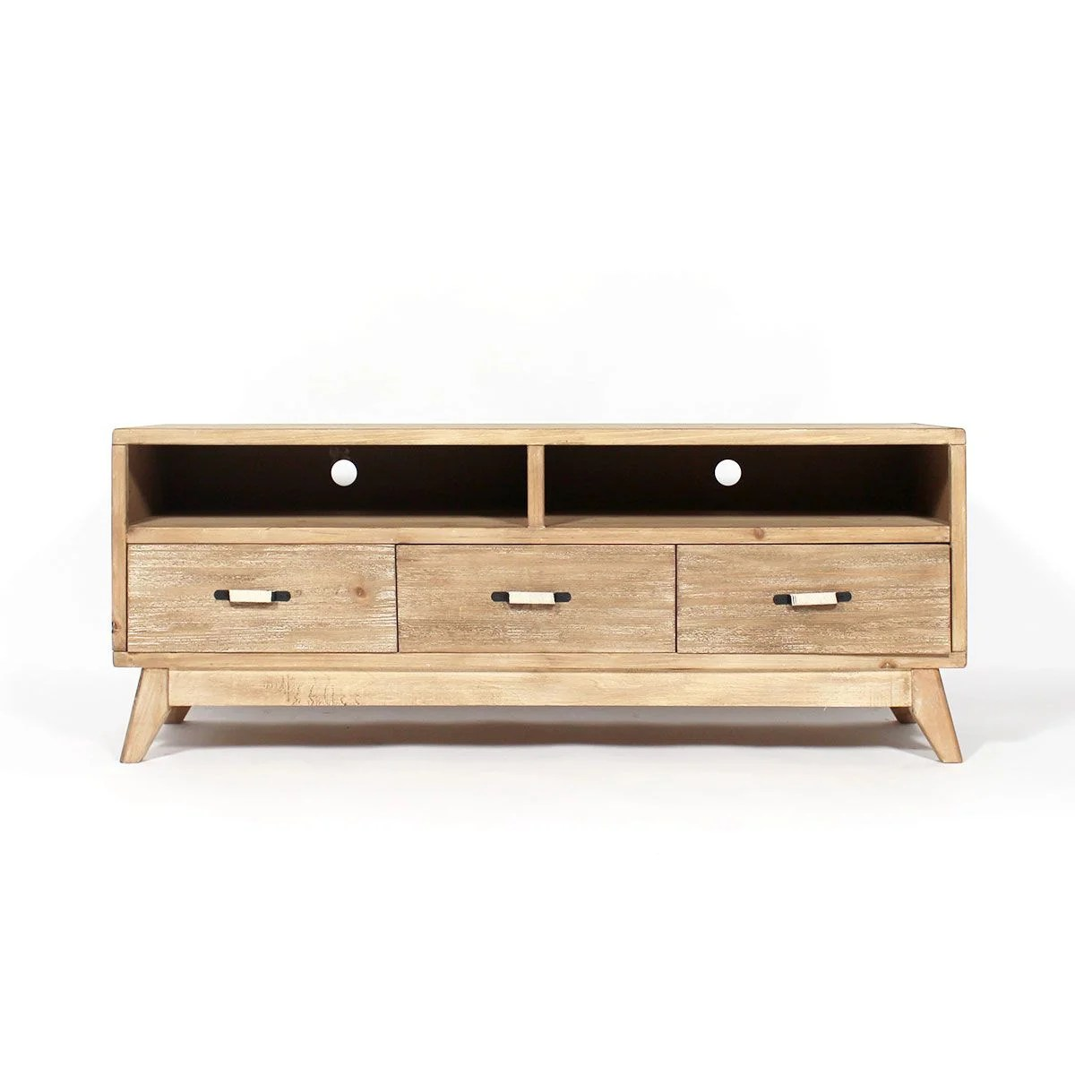 Meuble Tv Mdf Patine Bois Brosse 2 Niches 3 Tiroirs Bois Made In Meubles La Redoute