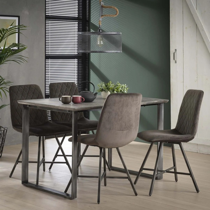 table a manger rectangle 120cm bois effet beton et pieds metal style vintage helsinki