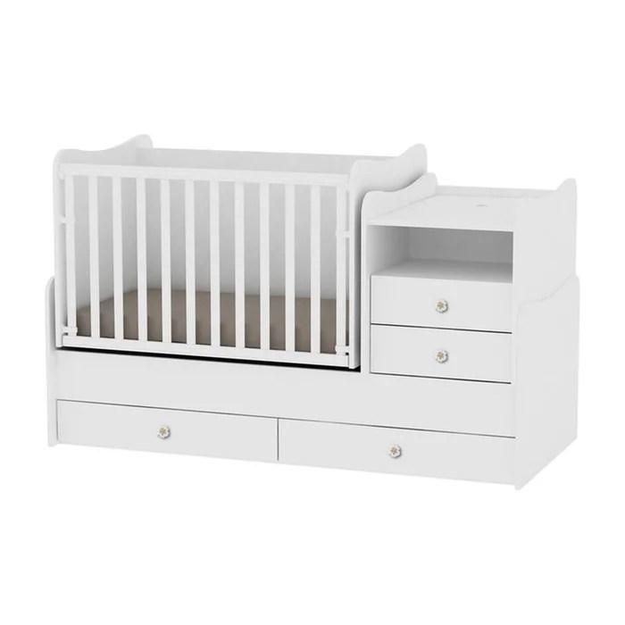 lit bebe evolutif combo 3en1 blanc
