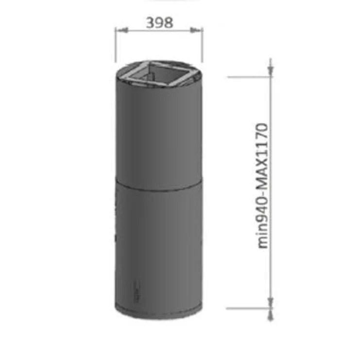 sogelux hotte tube ilot suspendue hcl944nf noire