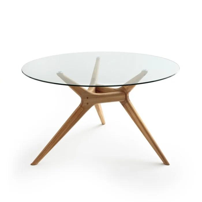 table ronde verre chene maricielo