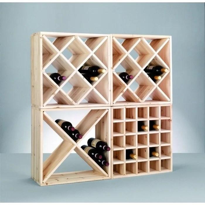 casier a bouteilles de vin cube croix bois pin