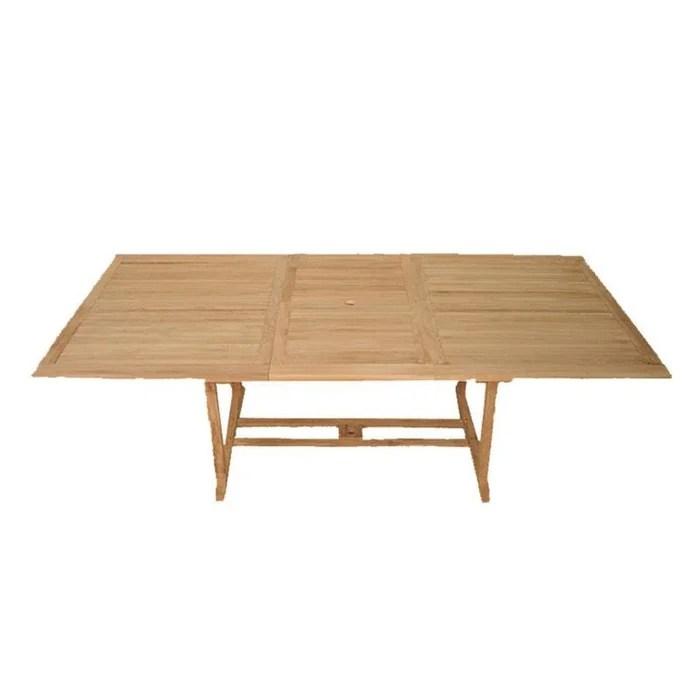 table de jardin extensible rectangulaire en bois de teck massif 200 300x120cm summer 14 personnes