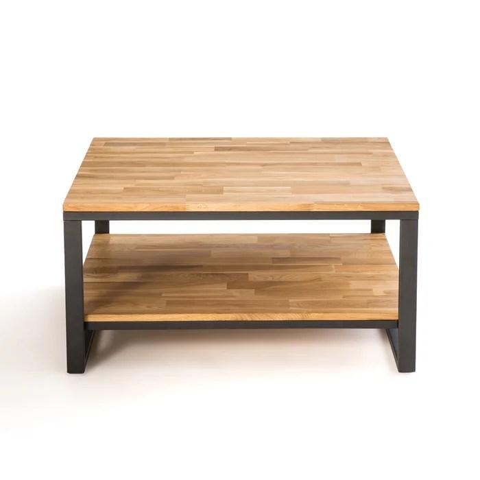 hiba square coffee table in oak steel