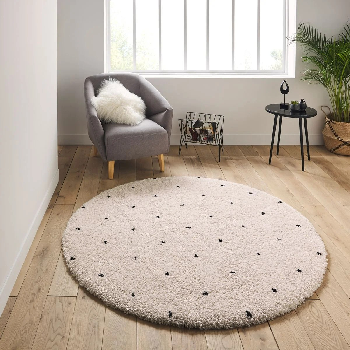 tapis rond a pois style berbere ava