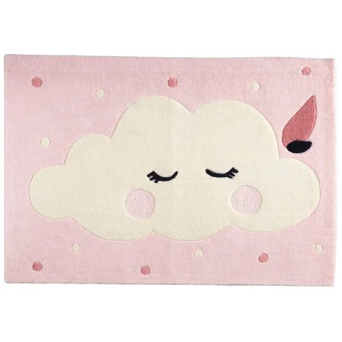 tapis de chambre enfant nuage de taille 130x90cm miss fleur de lune