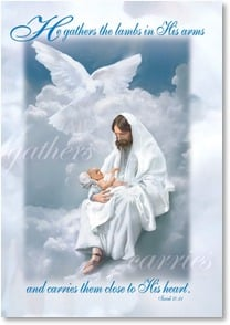 Sympathy Card Jesus In Clouds Holding Baby Danny