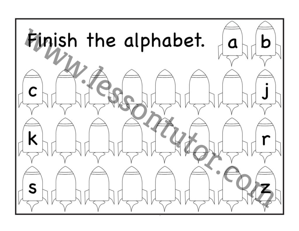 Missing Letters Lowercase Small Letters Worksheet