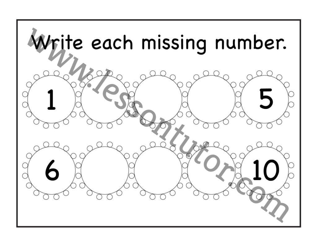 Missing Numbers 1 10 Worksheet Kindergarten 4