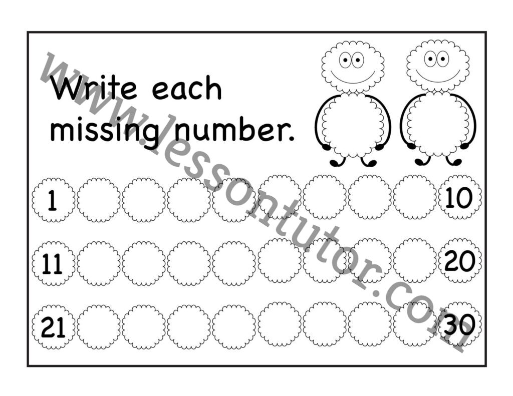 Missing Numbers 1 30 Worksheet Kindergarten 7