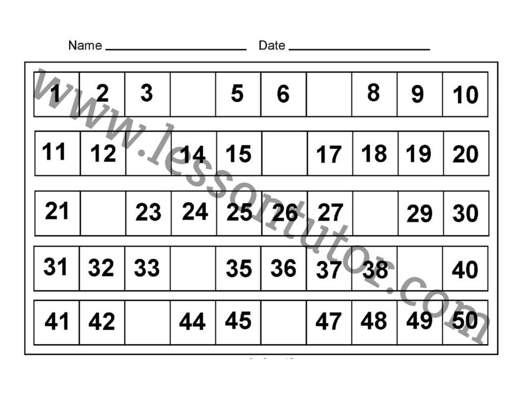 Missing Numbers 1 To 50 Eight Worksheets Kindergarten