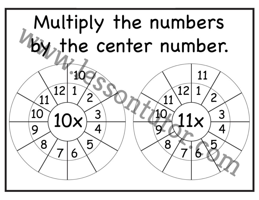 Multiplication Target Circles 10 11 Times Table