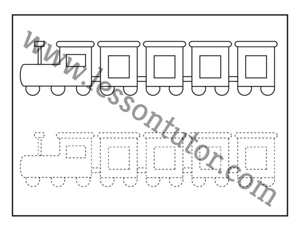 Picture Tracing Train Worksheet Kindergarten