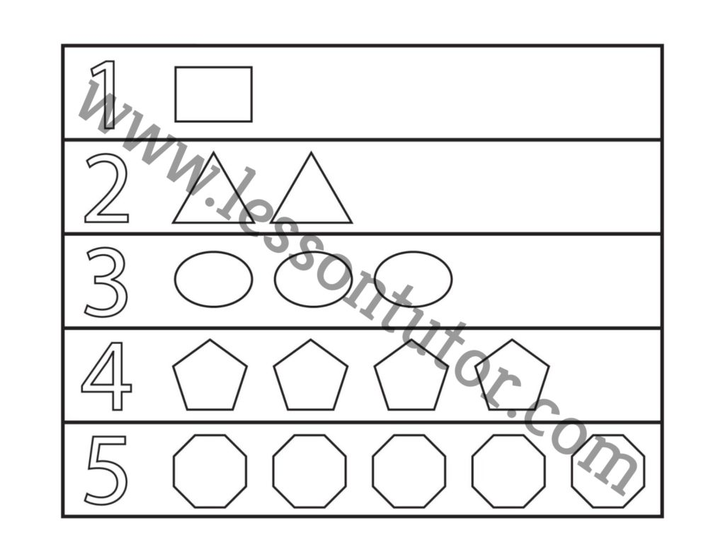 Shapes And Numbers Worksheet Kindergarten