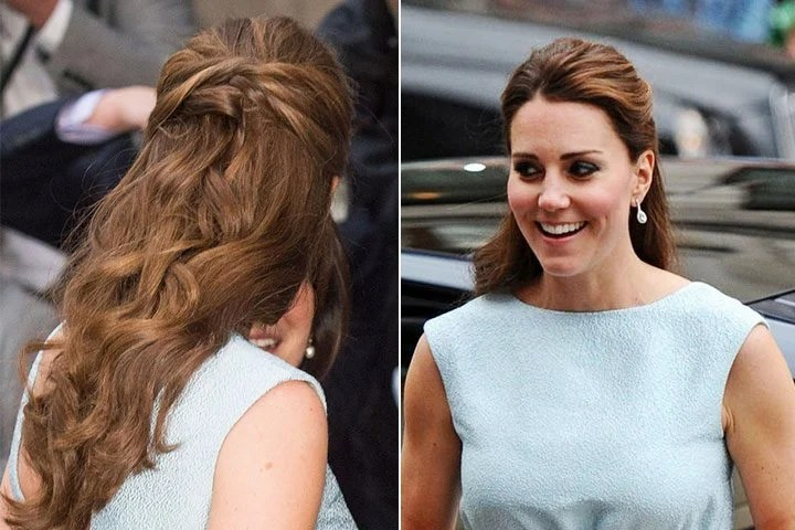Gaya rambut Kate Middleton: Classic Half Up Half Down