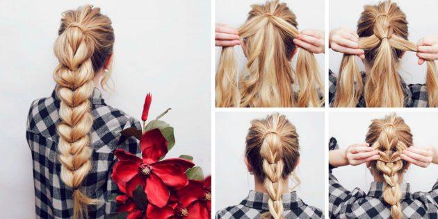 Причёски за 5 минут: Высокий хвост с объёмной косой