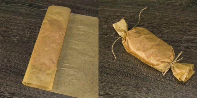 Тартқышты пергаментке орап, өзектерді мықтап бастаңыз