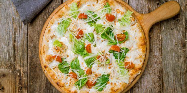 Домашняя пицца цезарь