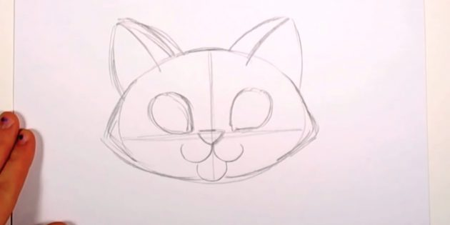 Az orrod fölé húzza a cseppeket - a szemek körvonalait - és vegyen egy macska fülét