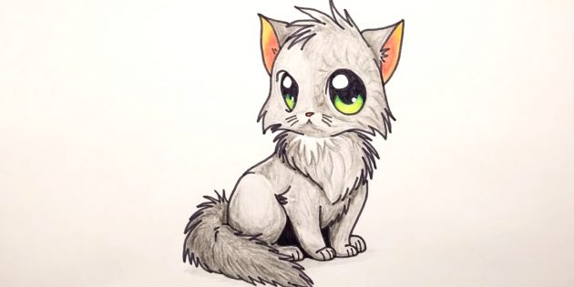 How to draw a sitting cat in anime style