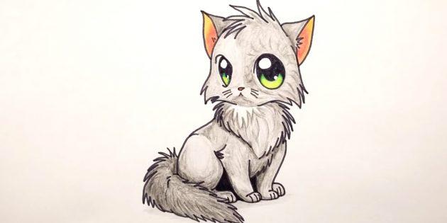 Hvordan man tegner en siddende kat i anime stil