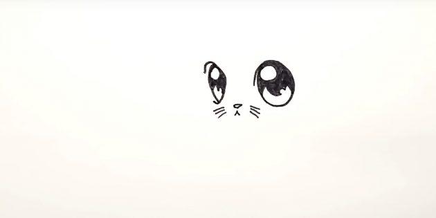 Below between the eyes draw a little triangular nose