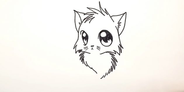 How to draw an anime cat: At the bottom of the zigzags and intermittent lines, try fluffy breast