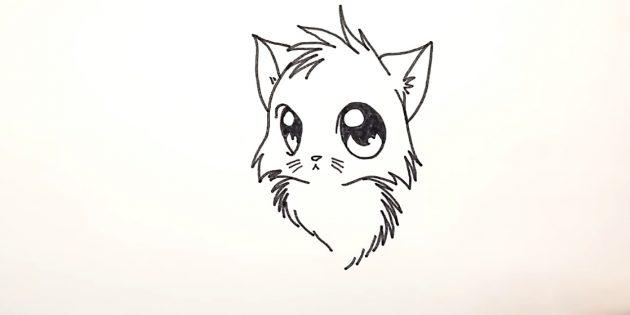 Hvordan man tegner en anime kat: I bunden af zigzags og intermitterende linjer, prøv fluffy bryst