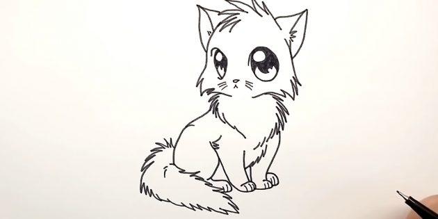 애니메이션 고양이를 그리는 방법 : 왼쪽에, 등을 추가하고, 아래의 솜털 꼬리를 추가하십시오