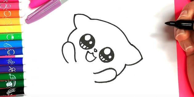 Мысық анимасын қалай салуға болады: сол және оң жақта көздің астына, табанның сызбаларын, алданың ішінен - бастар мен құлақтарды алыңыз