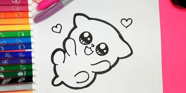 Hogyan rajzoljunk egy anime macskát: vastag marker körbe a macska külső kontúrjait