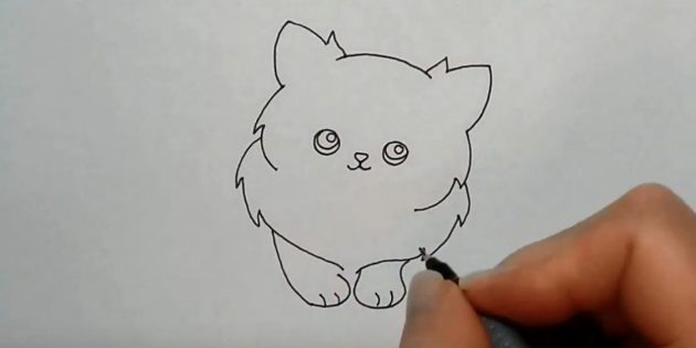 Under it, mark the small front paws and divide the fingers