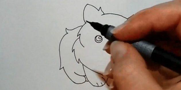 Desenhe as costas, começando logo abaixo da orelha à esquerda