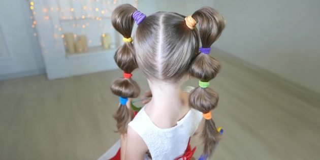 Hairstyles for girls: Throwing tails with rubber bands