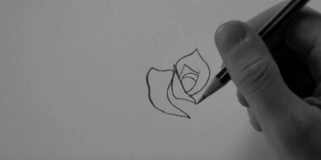 Справа над фигурой нарисуйте лепесток в виде остроконечного купола