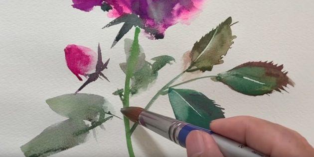 Подрисуйте чашелистики, маленький бутончик, стебель и ещё несколько листьев