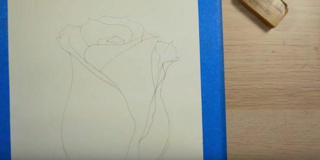 В центре прорисуйте один заострённый лепесток, а над ним — краешек другого. Оформите серединку розы