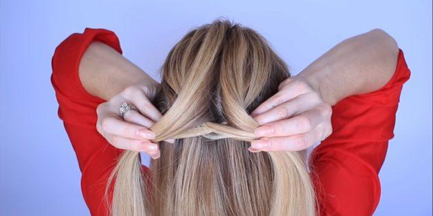 یک رشته کوچک را بکشید و آن را از پایین به سمت دیگر بگذرانید. جمع کننده از همان طرف برخی از مو و آنها را اضافه کنید